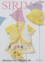 Sirdar Snuggly Pattercake DK Knitting Pattern - 4923 Bolero, Sun Hat and Shoes